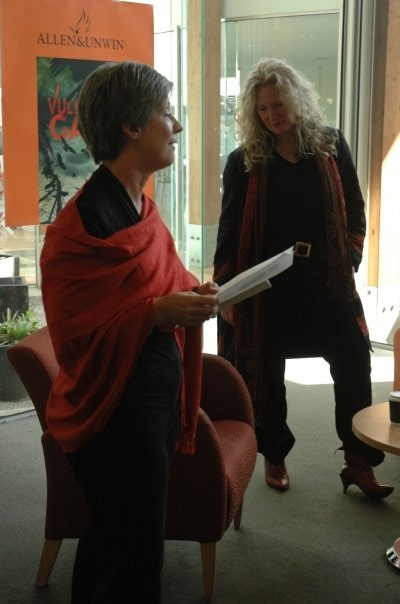 Suzanne Thwaites, super librarian and CBCA member, and Kirsty Murray at the launch of Vulture's Gate in Melbourne, 2009.