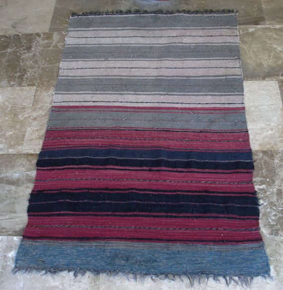 Vintage Small Kilim  Rag Rug Runner Wool Cotton Rustic, Cottage chic, Shabby Chis Home Decor, by VintageHomeStories,
