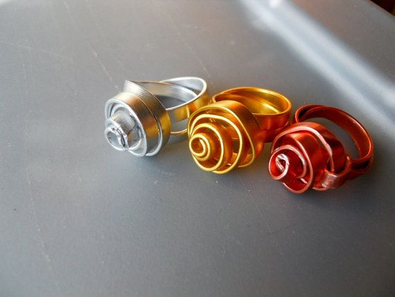 Copper Silver Gold Tone Thick Anodized Aluminum wire rings by belleazure