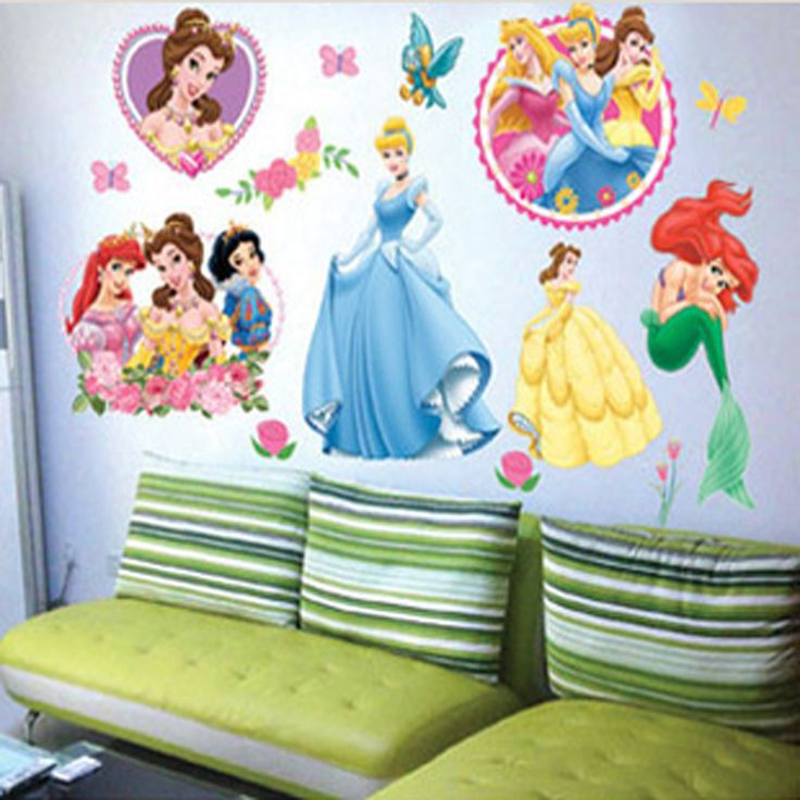 Art putri dekorasi rumah stiker dinding untuk kamar anak-anak, Anak anak cinta diy dekorasi keluarga vinyl poster, Mural cermin kamar mandi decals