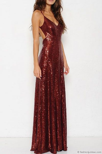 Backless Open Back Sequin Full length Maxi Dress-Burgundy Dark Red