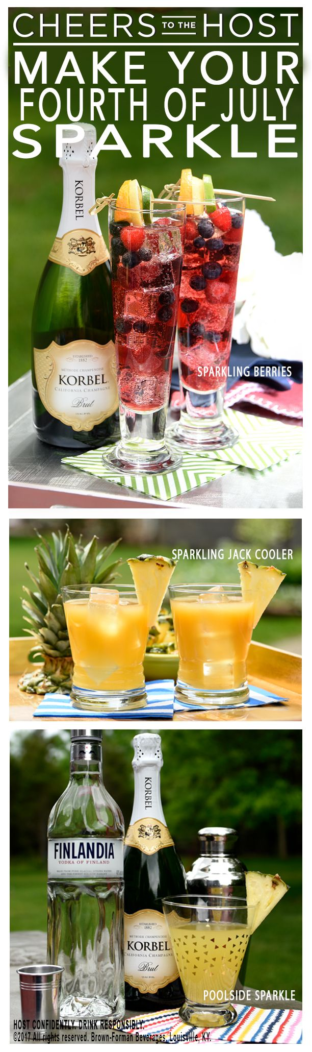 Add a pop to your 4th of July! Go to  CheerstotheHost.com to check out these three Korbel California Champagne cocktail recipes, sure to be a refreshing addition to all of your parties this summer.