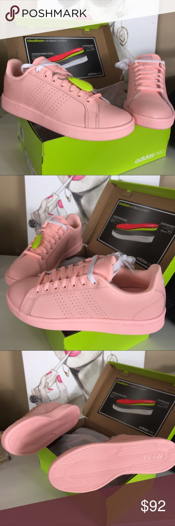 Adidas Neo Cloudfoam Advantage Sneaker - 10 Women's Adidas Neo Cloudfoam Advantage Sneaker - 10 - hot!! For spring 2018!  Grab these brand new in box - I bought two and keeping the other pair.  Come with box (box has cut as pictured) Fair offers are encouraged!! adidas Shoes Sneakers