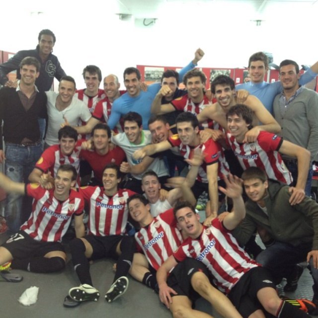 Athletic Bilbao, celebrating their win over Sporting to make it to the Europa Final.