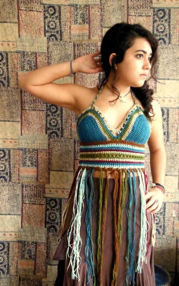 Forest Breeze Festival crochet halter top by HorizonsEd3e on Etsy, $54.00