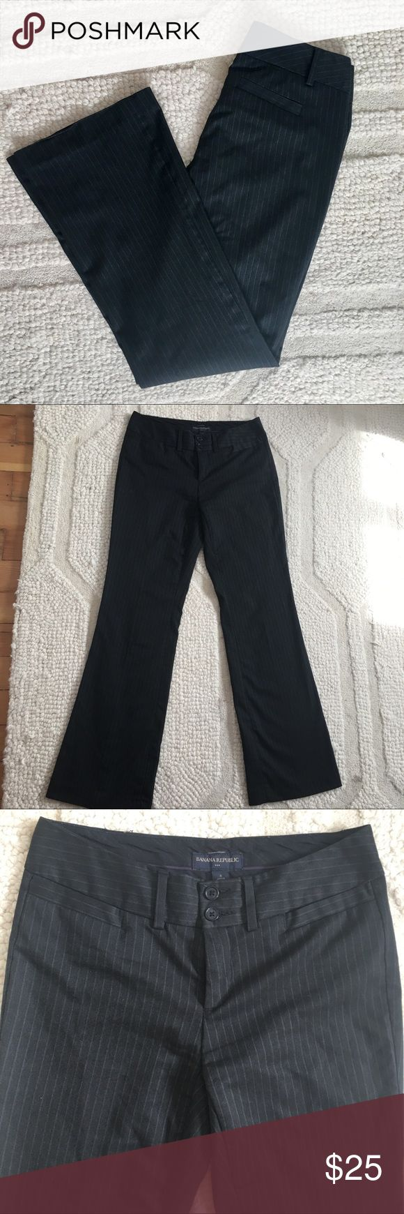 Banana Republic Trousers Slacks Pants Pin Stripes Banana Republic Trousers Slacks Pants Pin Stripes. Excellent used condition. The only wear is slightly on the bottom of the legs as shown in picture. Thanks for looking:) Banana Republic Pants Trousers