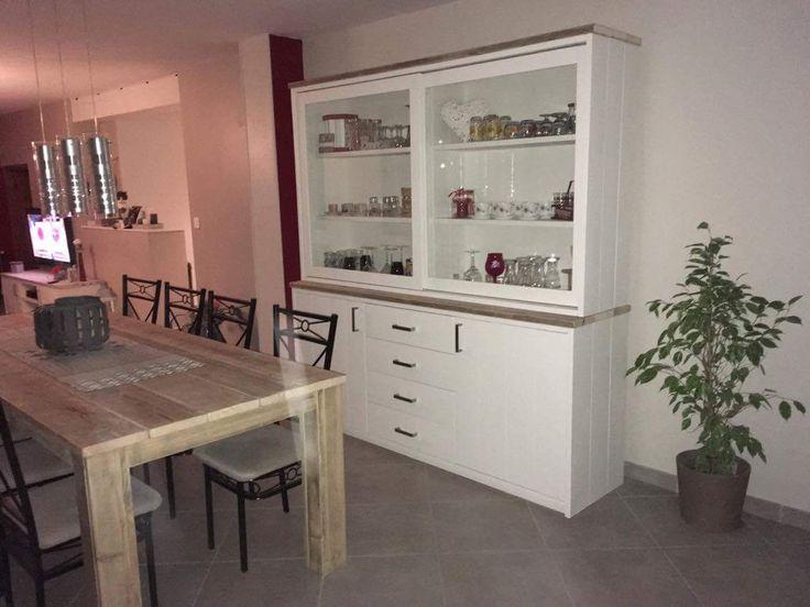 Table Pays Bois et vaisselier (Whiteline) avec portes coulissantes