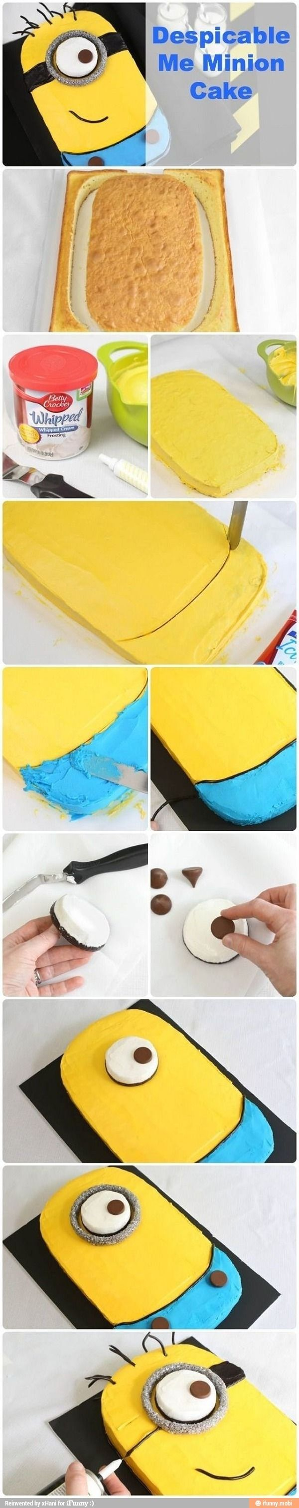 Despicable Me Minion cake.. mom since I'll be home for my birthday you can make this cake! Or at least try!!