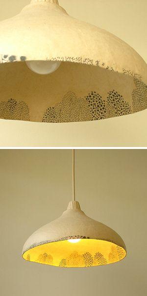 Canvas lamp (Mori drawings) from studio Muramatsu.