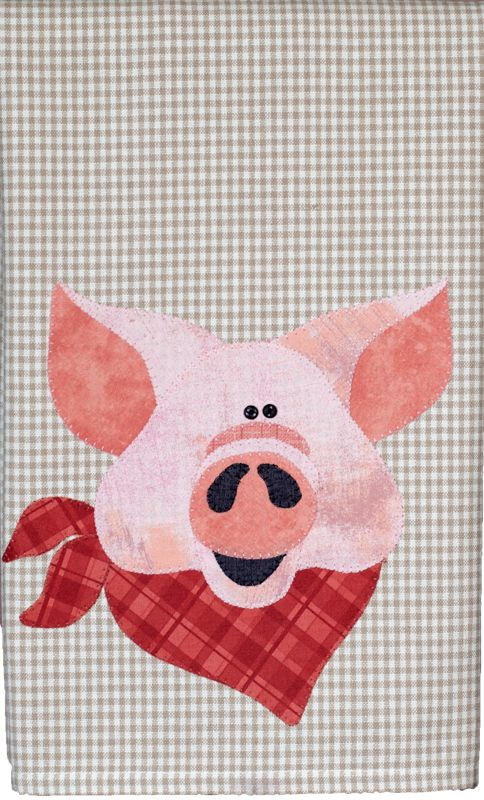 P33 Pig Patternlet From Farm Animal Group By The Wooden Bear  Fusible  Applique Tea Towel