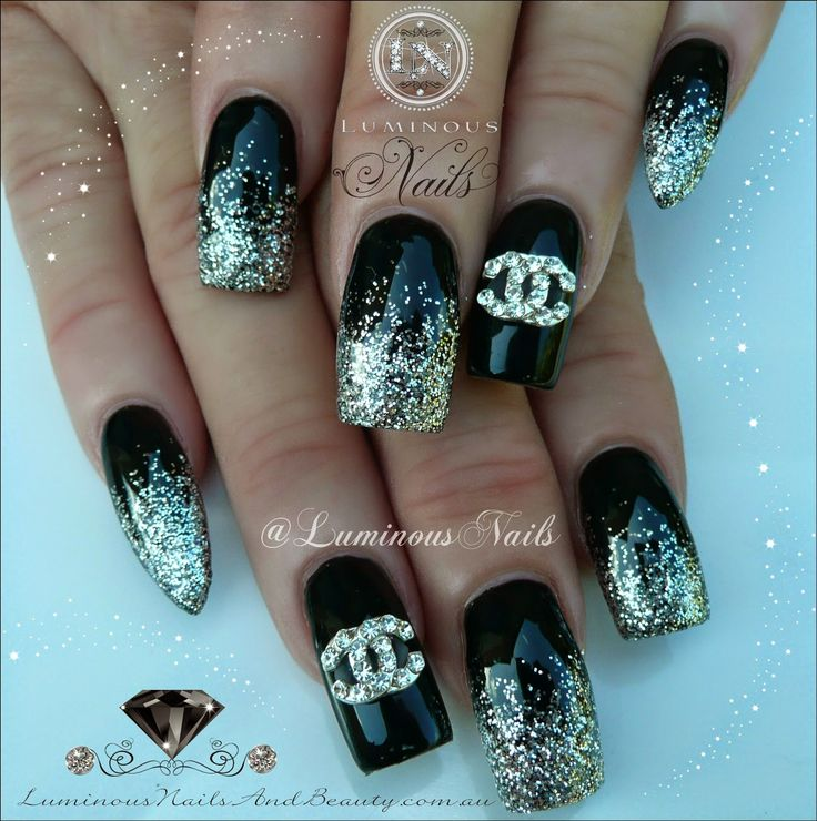 The 25 best chanel nails ideas on pinterest chanel nails design black silver nails with coco chanel nail bling young nails mani q black silver glitter coco chanel nail jewel prinsesfo Images