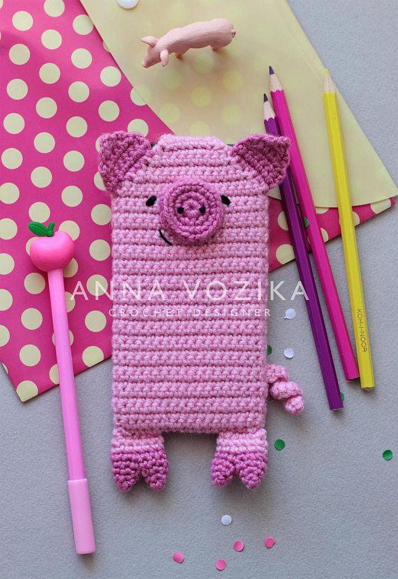 Crocheted phone case unicorn or raccoon phone cover