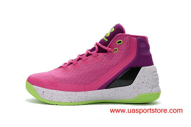 Stylish Under Armour Curry 3 Pink Purple UA Basketball Shoes For Men
