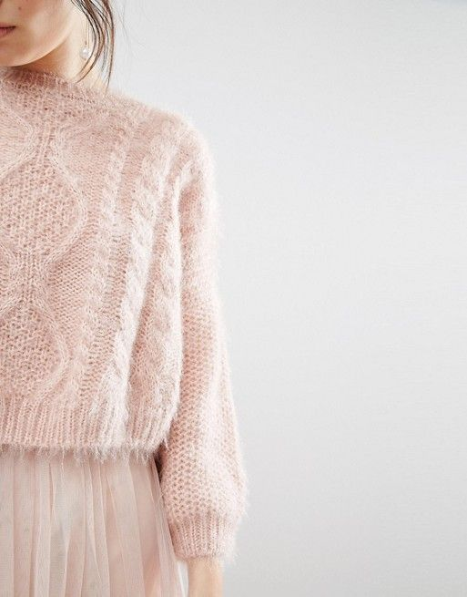 Beautiful pale pink fluffy cables -- designer unknown