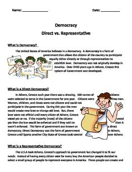 This worksheet was created to go along with Georgia's 3rd Grade Greece Unit.  I have searched for a few years and have never found any worksheets to go along with the discussion of Ancient Greece Direct Democracy and USA's Representative Democracy.SS3H1c.NOTE:  Thumbnail image of the worksheet shows words on the right side of the clipart.