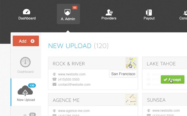 top dashboard tab navigation ui interface design