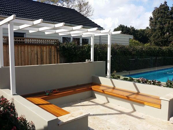 garden arbour sydney northern beaches seating area timber decking outdoor seating landscape garden