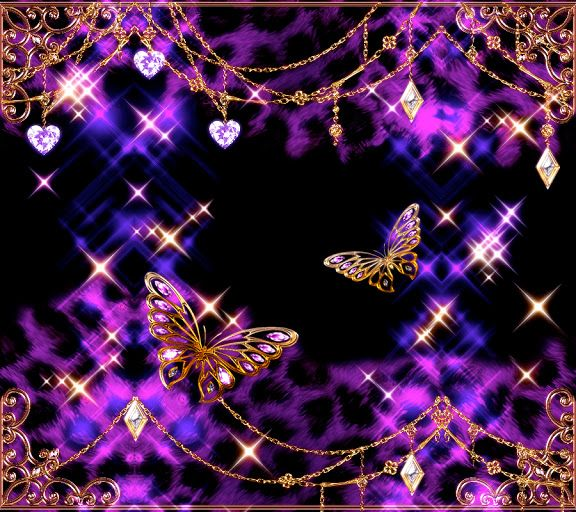 Glittery Butterfly Wallpaper (purple, Black, And Gold