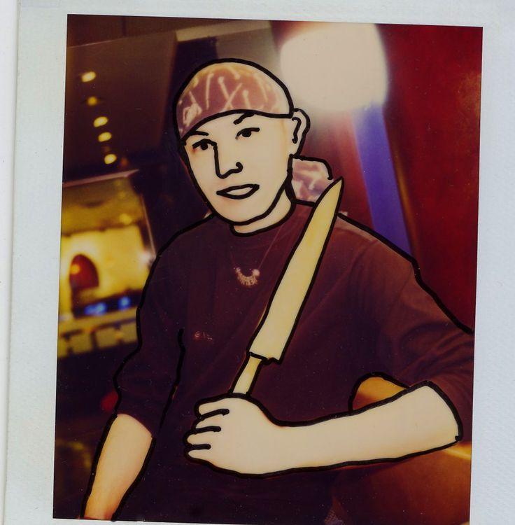 Sushi Chef...Cartoon Society, Polaroid Art.