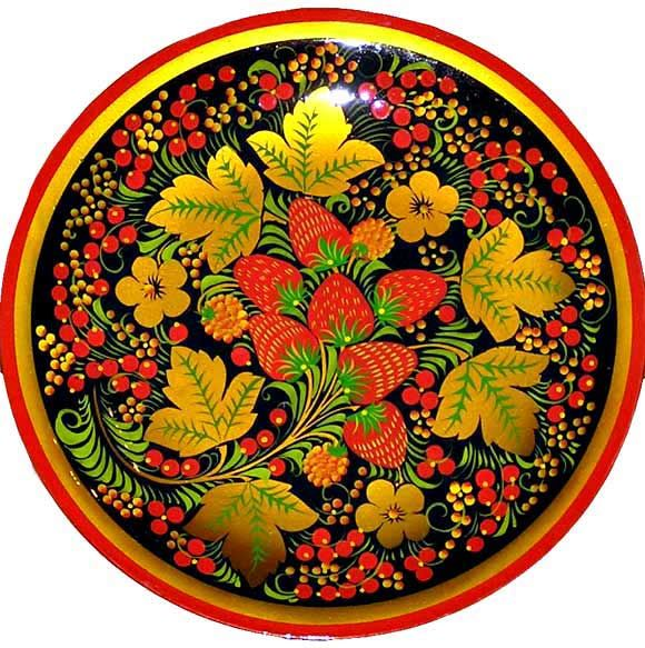 Русские народные росписи: Мезенская, городецкая, жостовская, хохломская.