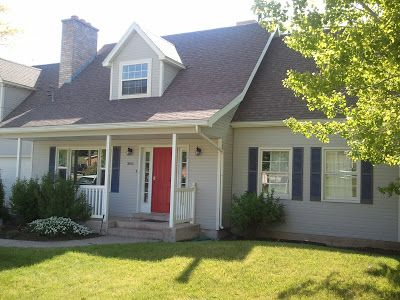 Best Gray House Bright Red Door Navy Blue Shutters Charcoal 640 x 480