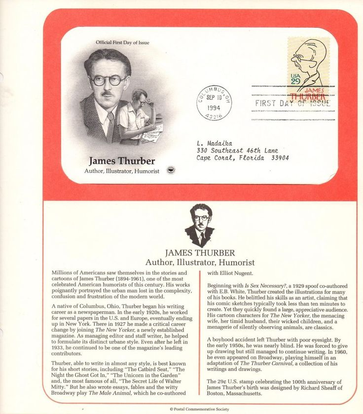 USPS Collectible Stamps, James Thurber, Author, USPS Stamp, 1st Day of Issue