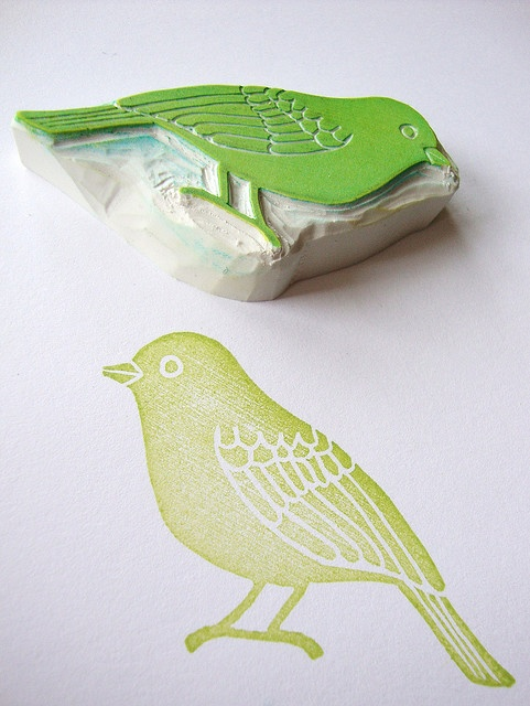 another hand carved bird stamp by minna//s