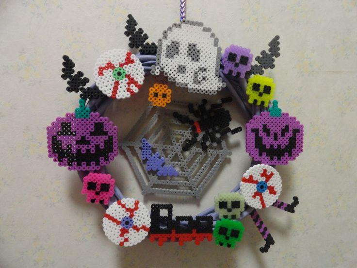Halloween wreath with perler beads