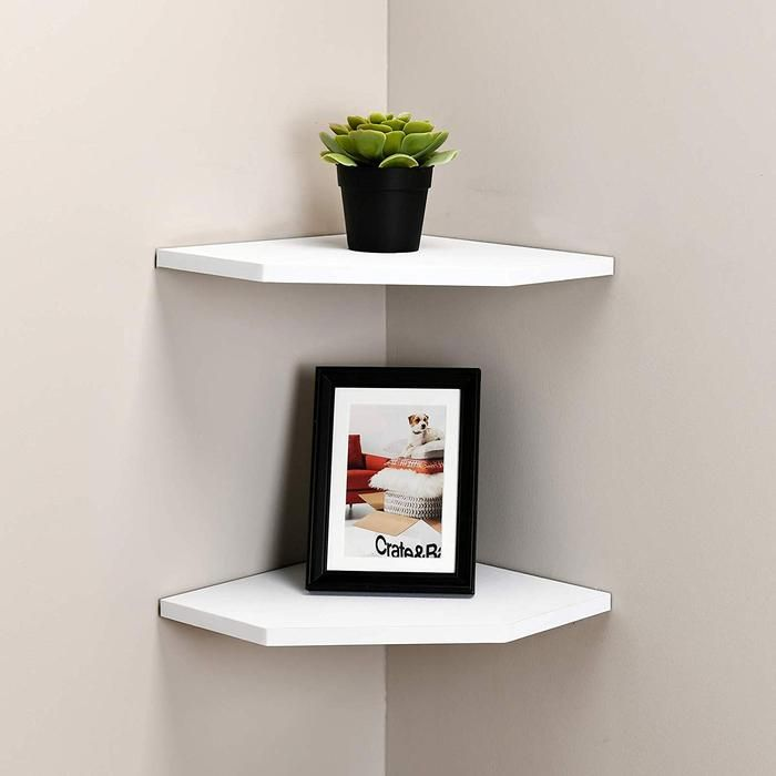 12 Inch Floating Corner Shelves Set Of 2 Floating Corner Shelves White Corner Shelf Corner Decor