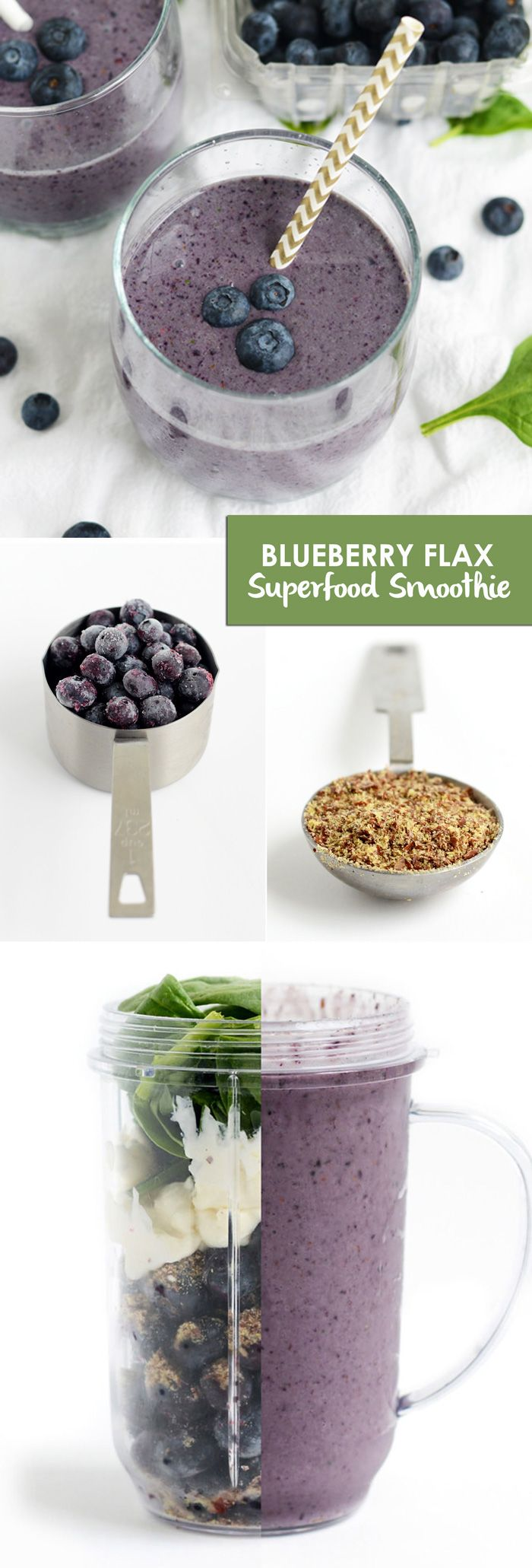Blueberry Flax Superfood Smoothie // blueberries, flax seed, spinach & coconut milk #energy #healthy
