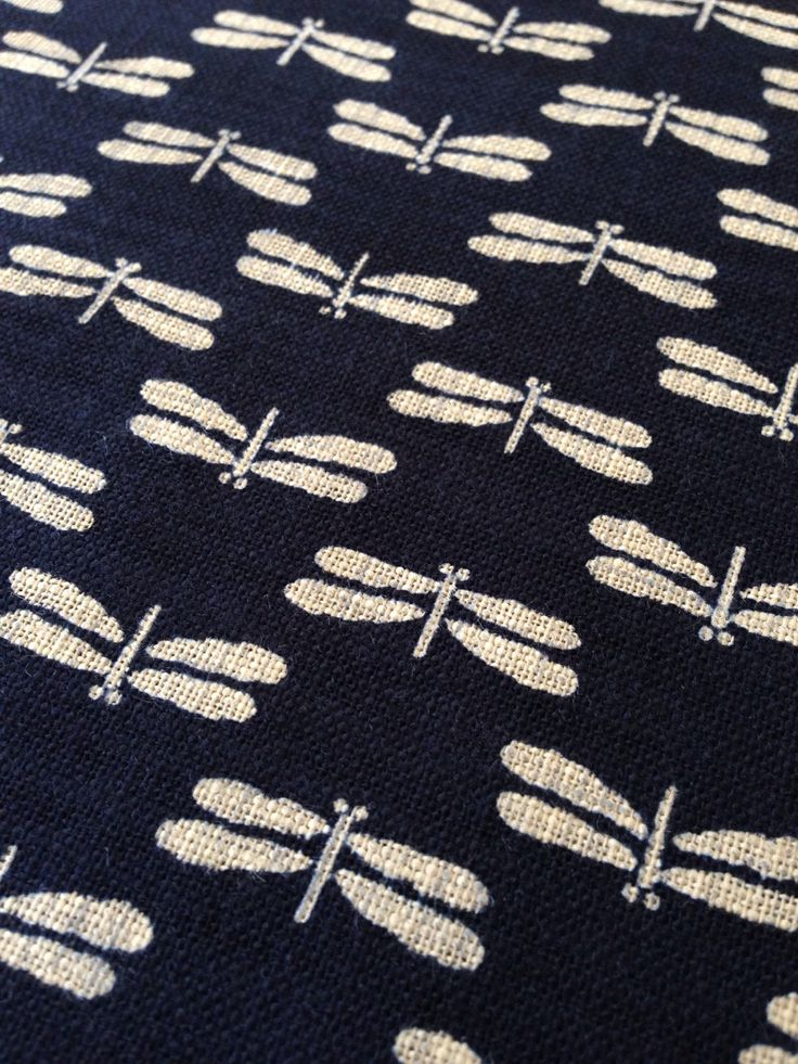 Half Yard Sevenberry Dragonfly Tombo Navy Indigo Blue