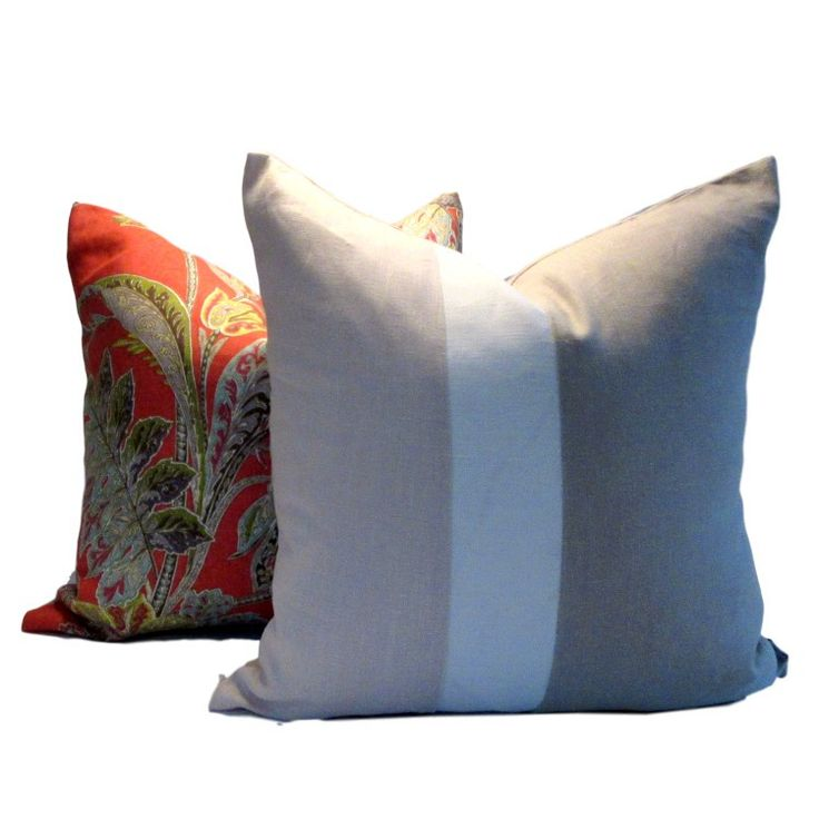 Instantly update your decor with our contemporary linen Pink White Natural Colour Block Pillow Cover