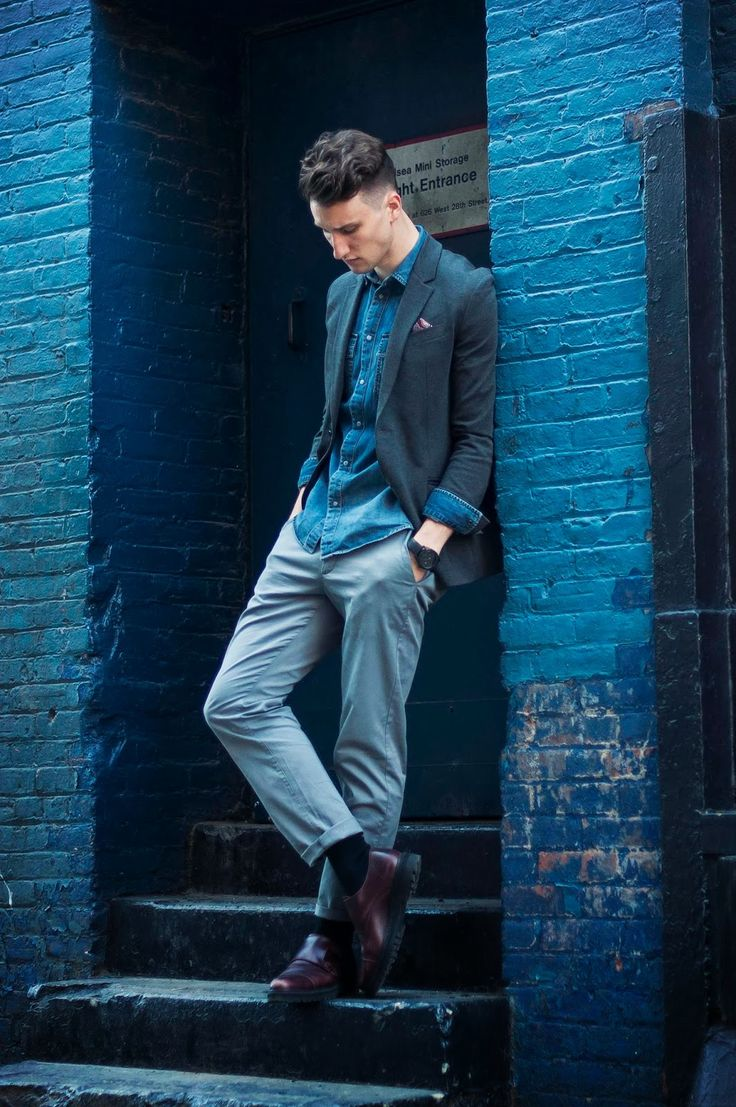 Feeling blue: Marcel Floruss of One Dapper Street in the Ponte Knit Blazer, Western Shirt, and Chino Pants.