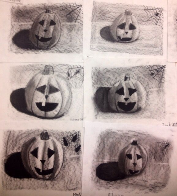Art Teacher in LA | K-6th grade art lessons Jack O Lantern Value sketches, Elementary Art, Middle School Art, Halloween Art, Fall Art, Www.ArtteacherinLA.com