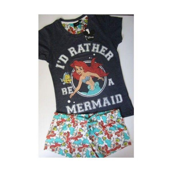 Primark Ladies Disney Ariel The Little Mermaid Shorts & T Shirt Pyjama... ❤ liked on Polyvore featuring intimates, sleepwear, pajamas, disney, disney pjs, lingerie pajamas, lingerie sleepwear and disney sleepwear
