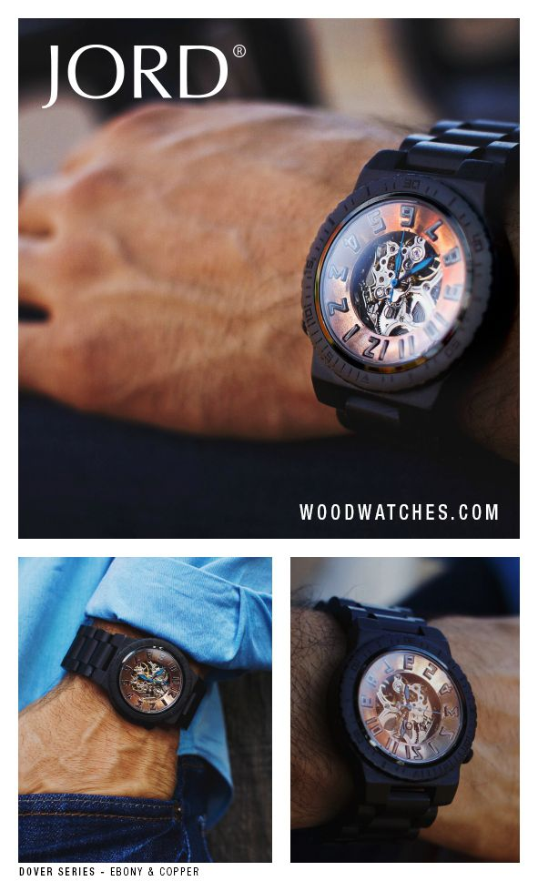 Dover - Ebony & Copper Skeleton Wood watch by Jord. Click the image to see our entire wood watch collection.