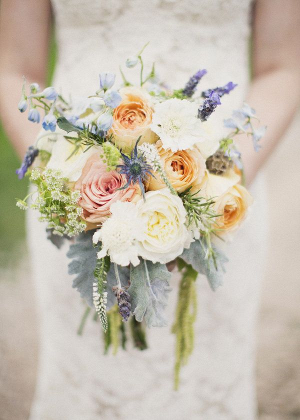 Blues and creams with silver foliage.