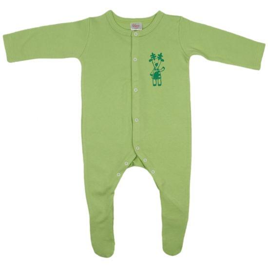 Salopetă mânecă lungă și pantaloni cu botoșei verde lime imprimeu ren de la www.liloo.ro