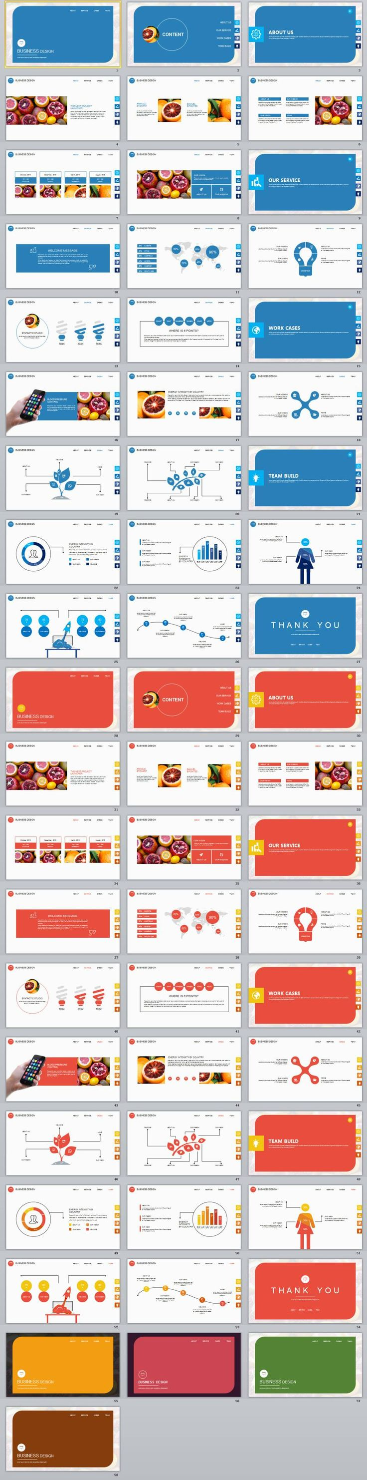 2 in 1 blue red business design PowerPoint template