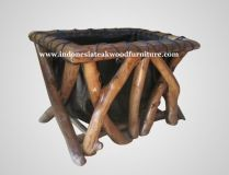 Boksa Basket Made from teak branch with wood stain finishing.  This can be as a storage, for placing books, toys, or others.