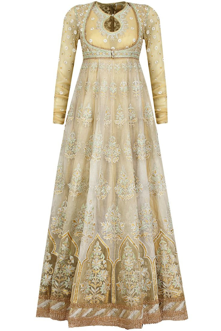 Beige multi panelled gota inlay anarkali set available only at Pernia's Pop-Up Shop.
