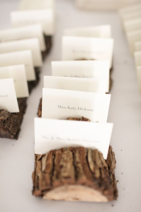 Place cards and wood