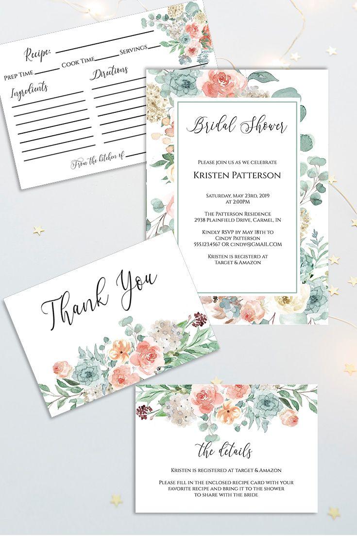 Fl Bridal Shower Invitation Set