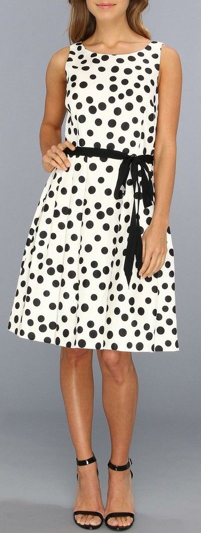 Black & White Polka Dot Sleeveless Belted Dress