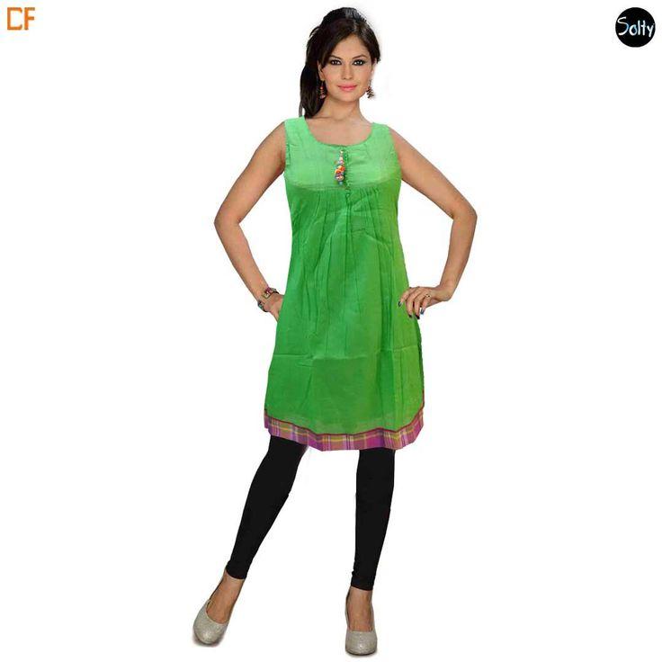 Short #anarkali  #kurtis #fashion #trendy #onlinestore  Link to buy http://www.droomfashion.com/shop/short_kurti_anarkali_cotton_green_sleeveless/