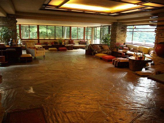 Frank lloyd wright interior of falling water wright 39 s for Frank lloyd wright flooring