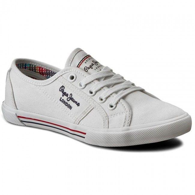 Πάνινα παπούτσια PEPE JEANS - Aberlady Basic 17 PLS30500 White 800