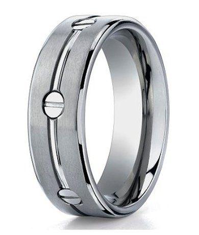 mens designer titanium ring with polished groove and inset screws - Mens Designer Wedding Rings