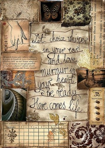 Love this journal page-colors, papers, collage, and quote.