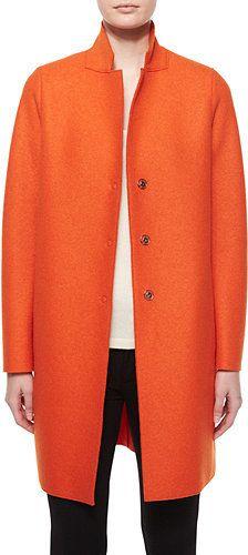 Harris Wharf London Double-Face Wool Hidden Placket Coat